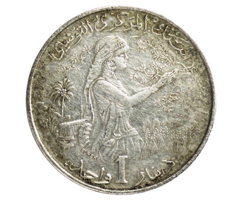 1 dinar F A O moeda, 1957~1987 - serie comemorativo de Bourguiba da primeira república, banco de Tunísia imagens de stock