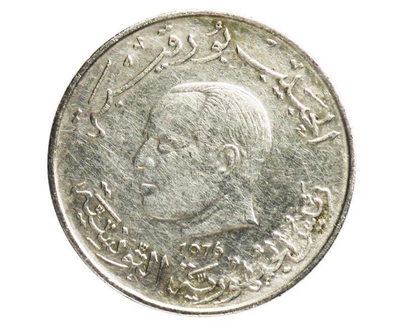 1 dinar F A O moeda, 1957~1987 - serie comemorativo de Bourguiba da primeira república, banco de Tunísia imagem de stock royalty free