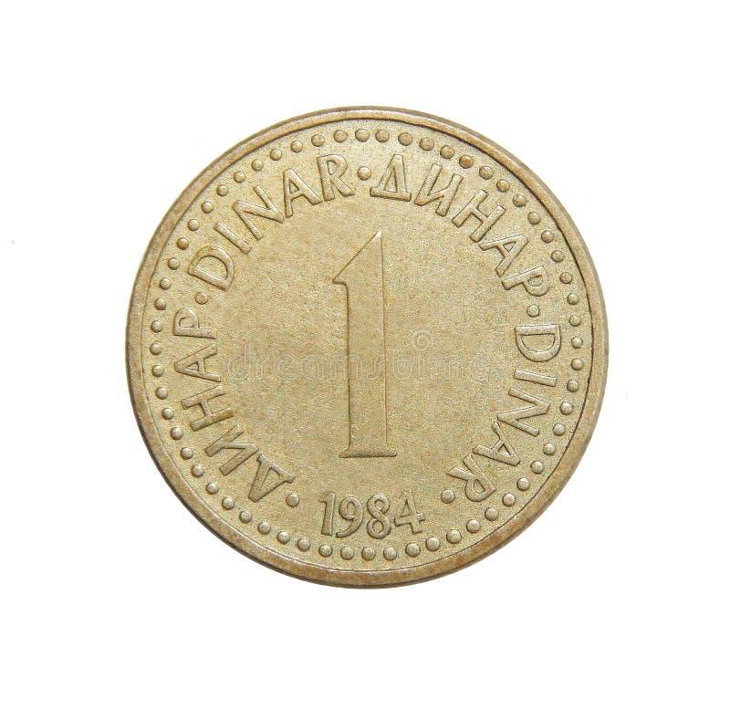 Dinar Jugoslavien för mynt 1 arkivbild
