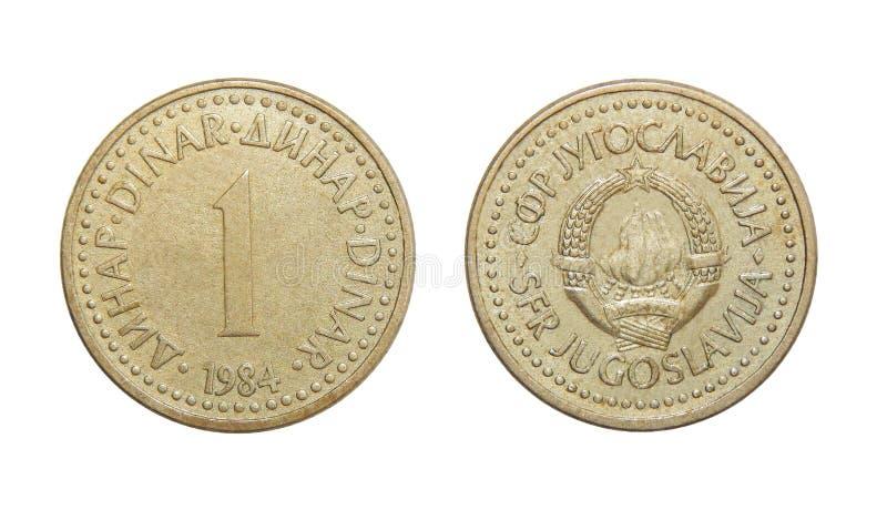 Dinar Jugoslavien för mynt 1 royaltyfri bild