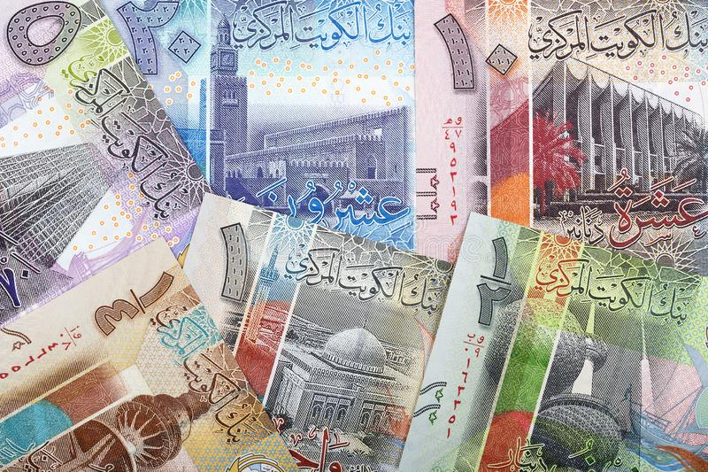 Dinar kuwaitiano um fundo do negócio foto de stock royalty free