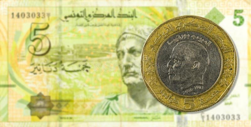 5 dinar mynt mot sedelavers för tunisian dinar 5 royaltyfri foto