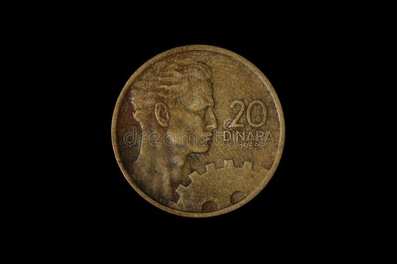 20 dinar yugoslavian muntstuk stock fotografie