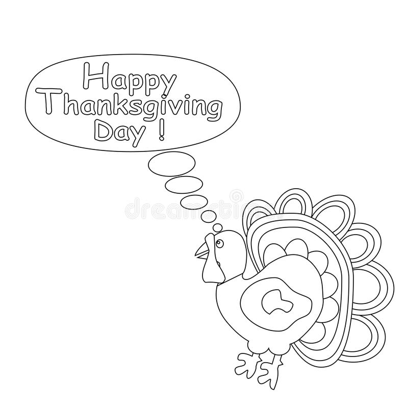 Dinde décrite de bande dessinée Concept heureux de jour de thanksgiving Enfants colorant la page illustration de vecteur