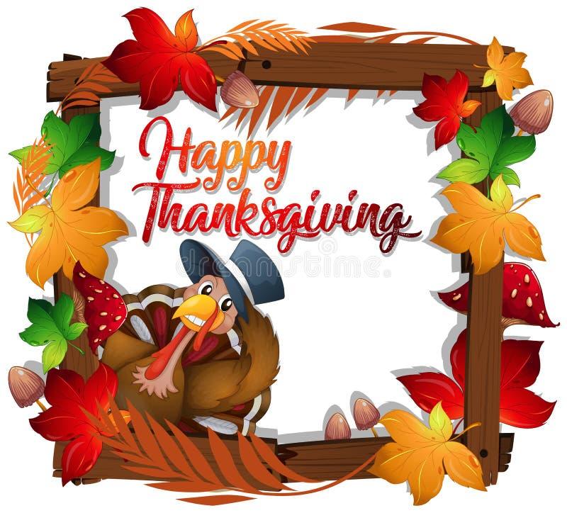 Dinde de thanksgiving sur le cadre en bois illustration stock