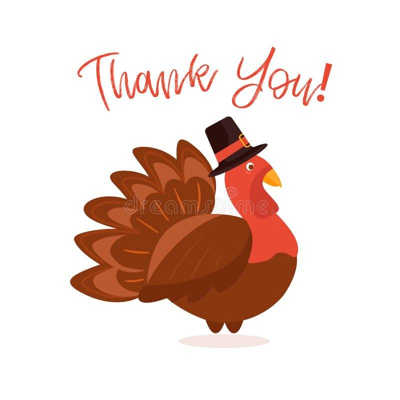 Dinde fâchée souhaitant le thanksgiving heureux Merci carte de voeux illustration libre de droits