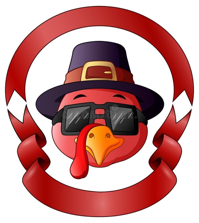 Dinde heureuse de thanksgiving avec le cadre du ruban rouge illustration libre de droits