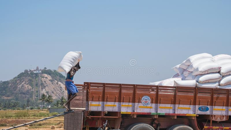 Loading a lorry in Tamil Nadu royalty free stock images