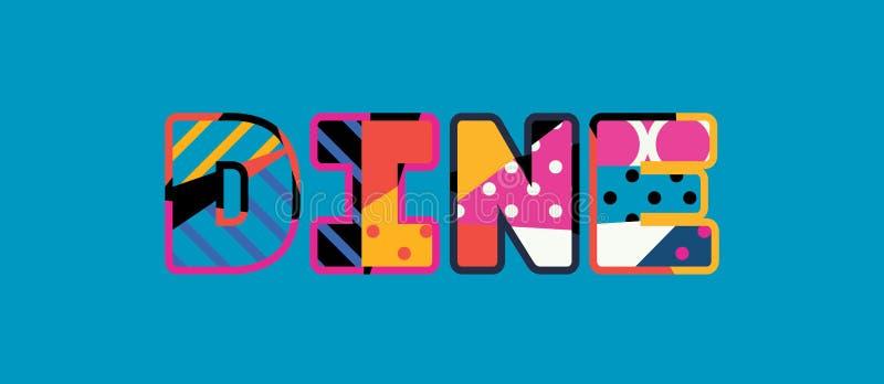 Dine Concept Word Art Illustration stock illustrationer