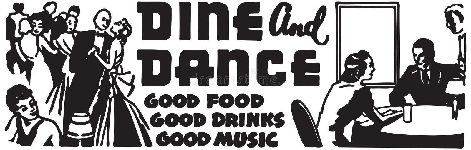 Dine And Dance 5. Retro Ad Art Banner stock illustration