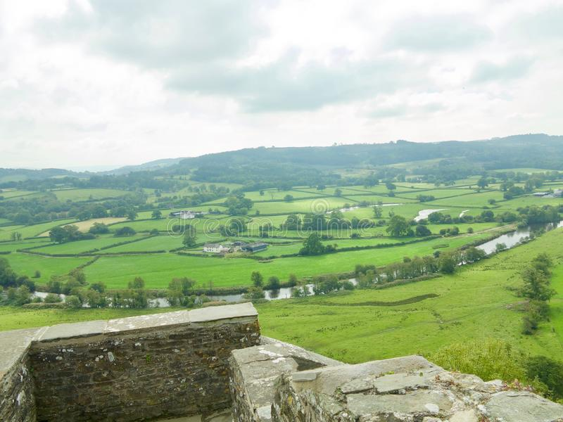 View from the castle. Dinefwr Castle near Llandeilo Carmarthenshire Wales united Kingdom stock photography