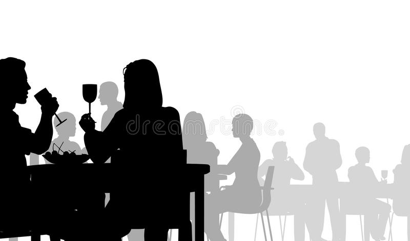 Diner. Editable silhouette of people eating in a restaurant