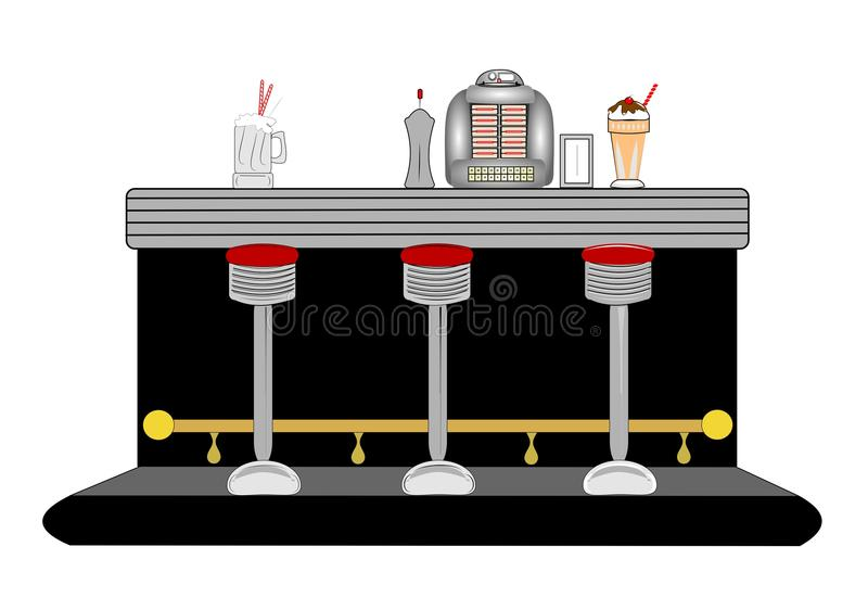 Diner counter. From fifties and sixties complete with accessories vector illustration