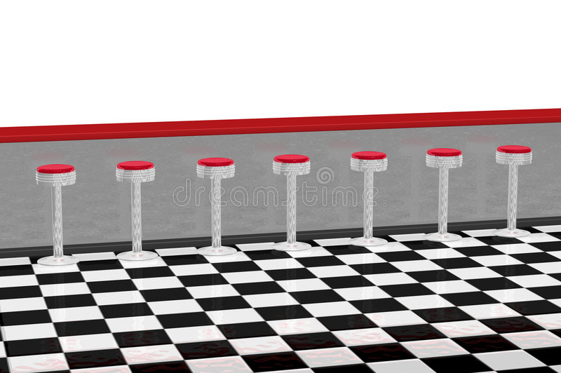 Diner Counter Restaurant. Diner counter for restaurant in retro 1950s style with several red and chrome stools, red counter, and black and white checker floor stock illustration