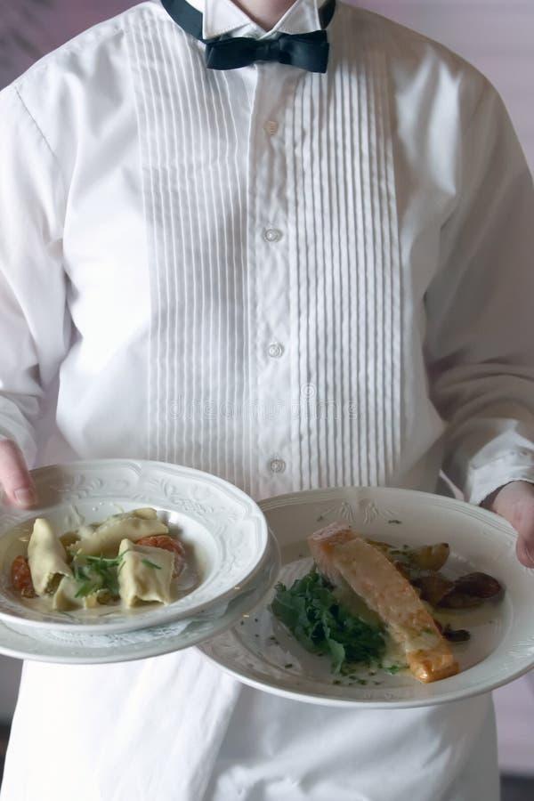 Diner dat bij een huwelijk wordt gediend stock foto's