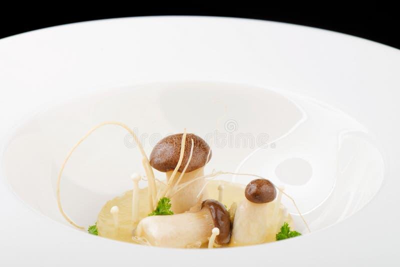 Diner fin, soupe à Porcini de champignon photographie stock