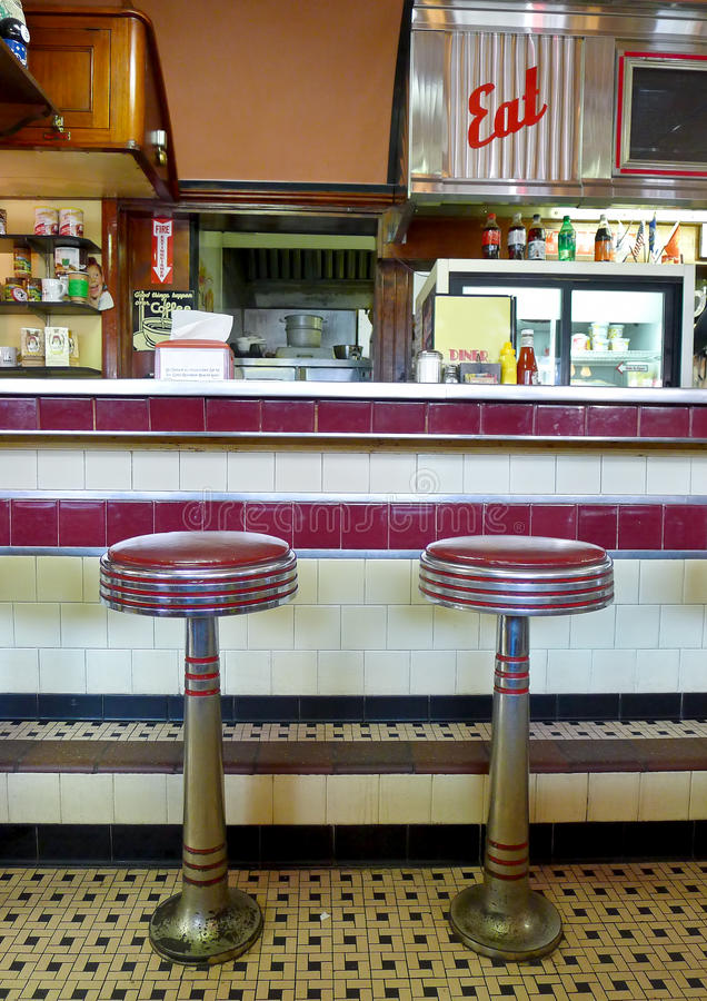 Diner Interior. A bit of nostalgic Americana, the interior of a classic Worcester Lunch Car Company diner. The company made diners from 1906 to 1961 royalty free stock photos