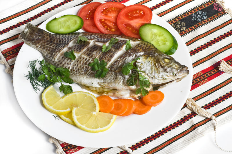 Diner met vissen stock afbeeldingen