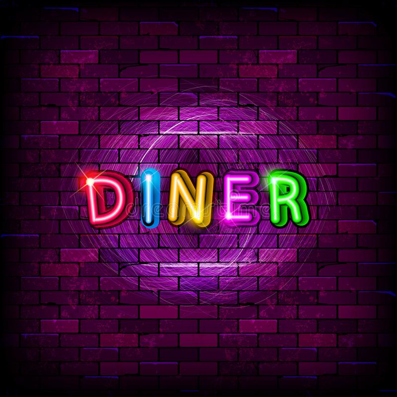 Diner neon sign on the brick wall vector illustration