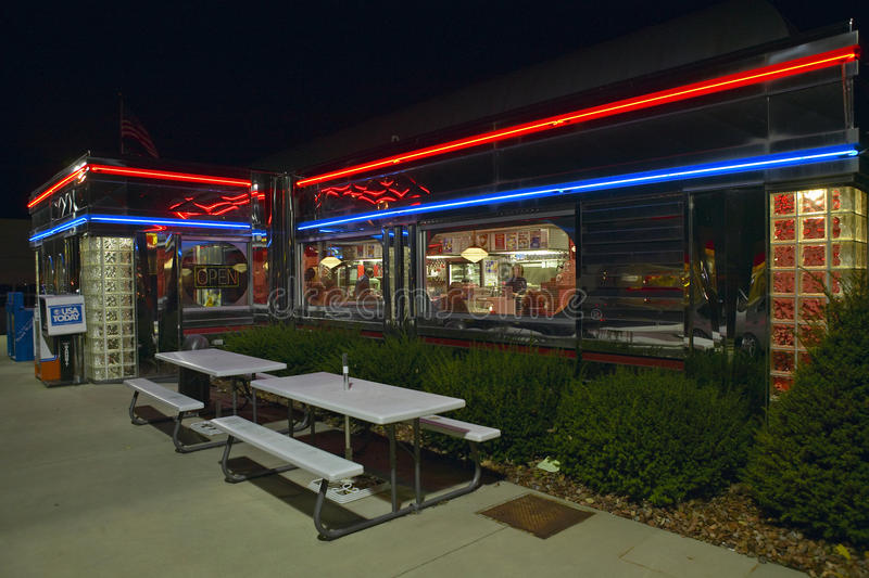 Download Diner at nigh editorial photo. Image of cafe, tables - 23179431