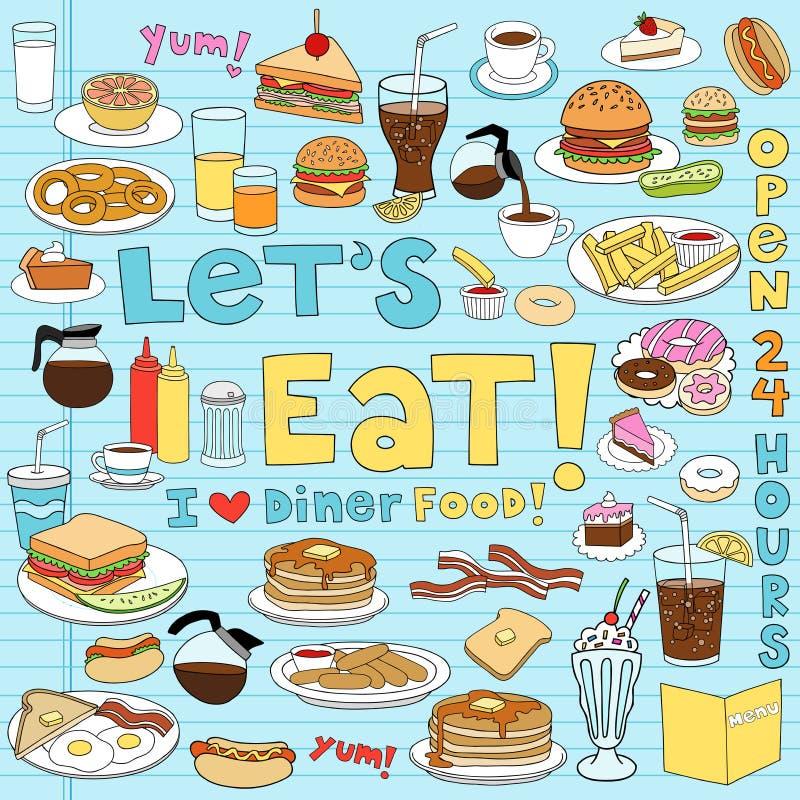 Diner Reeks van de Illustratie van de Krabbels van het Voedsel de Vector vector illustratie