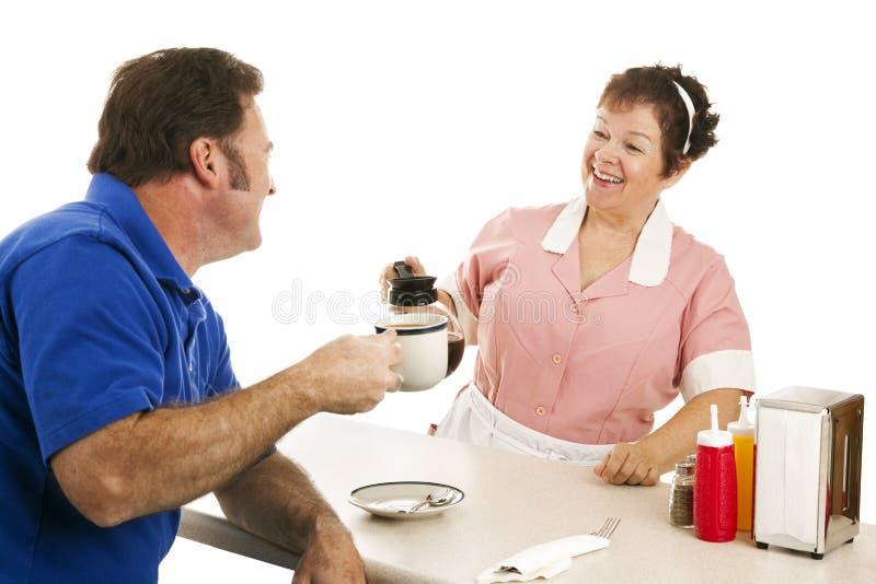Diner Serveerster met Klant stock fotografie