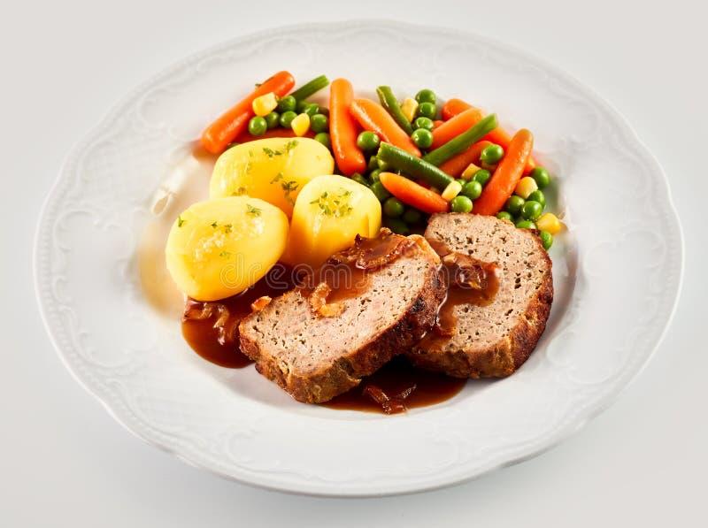 Diner van Gehaktbrood, Aardappels, en Gemengde Groenten stock afbeeldingen