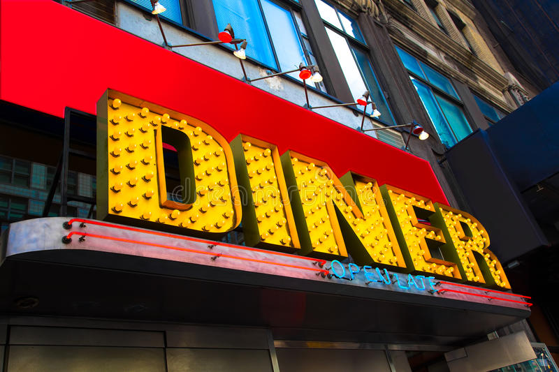 Diner. Vibrant and colorful retro diner sign royalty free stock photography