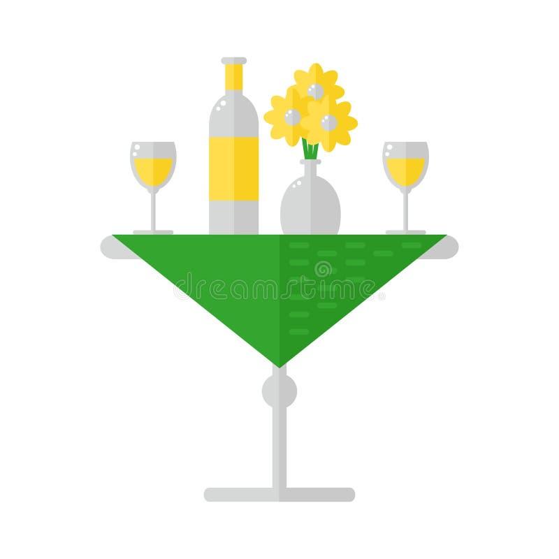 Dinerlijst geïsoleerd pictogram op witte achtergrond royalty-vrije illustratie