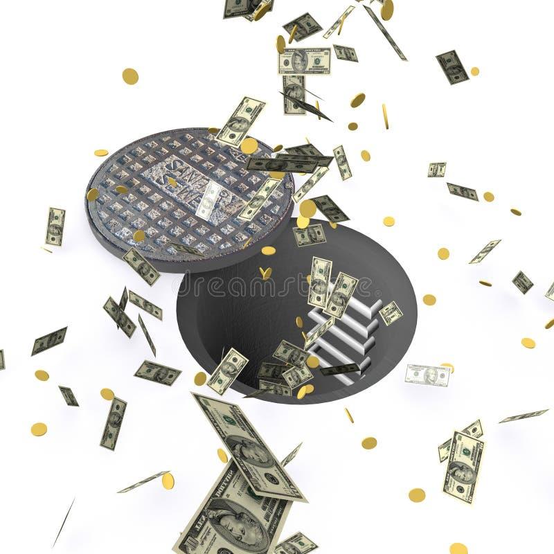 Dinero abajo del dren libre illustration