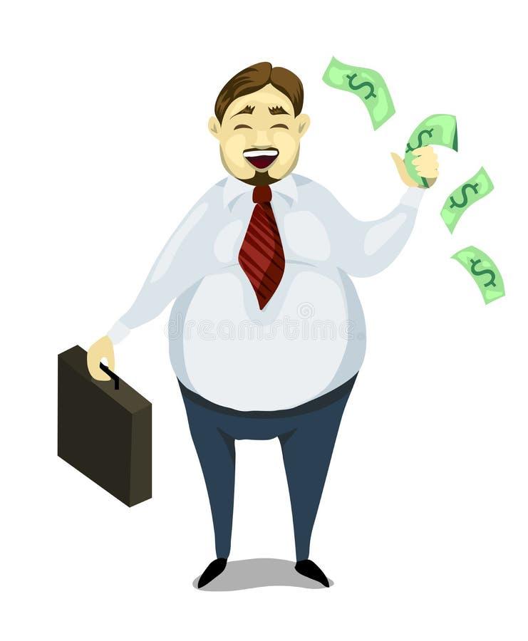Dinero alegre de los controles del hombre de negocios gordo Un hombre acertado, personaje de dibujos animados ilustración del vector