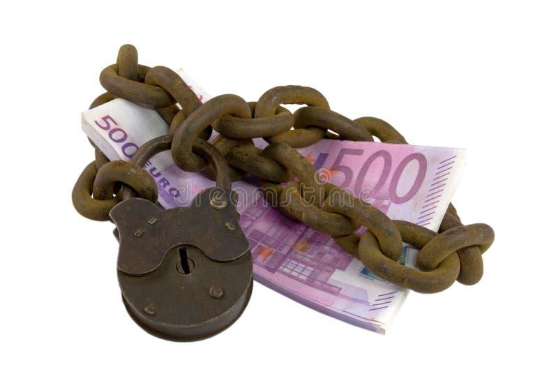 Dinero bajo llave y candado fotos de archivo libres de regalías