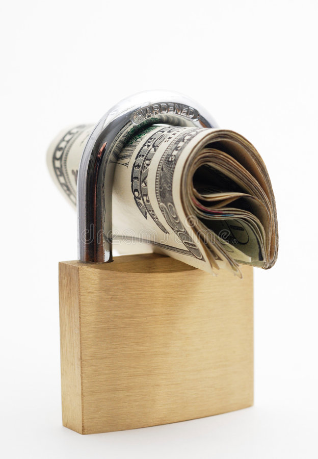 Dinero Bloqueado - Seguridad Financiera Foto de archivo libre de regalías