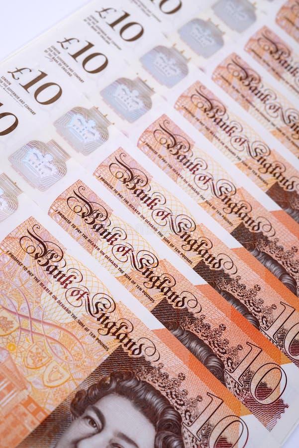 Dinero británico diez notas de la libra fotografía de archivo