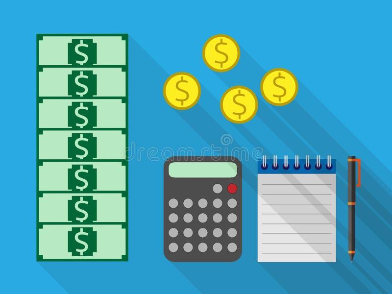 Dinero, calculadora, cuaderno, pluma libre illustration