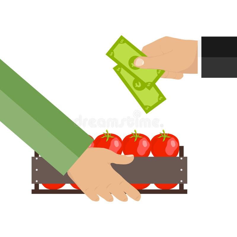 Dinero a cambio de la comida caja con los tomates libre illustration