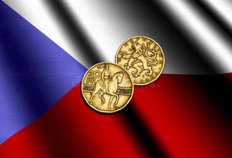 Dinero checo en la bandera stock de ilustración