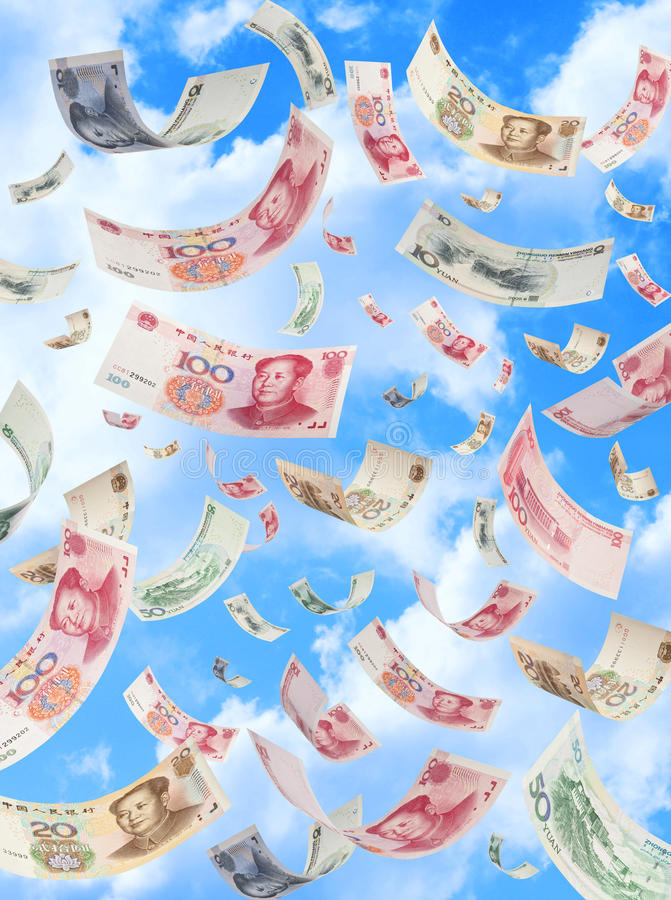 Dinero chino Yuan Falling Sky imagen de archivo libre de regalías