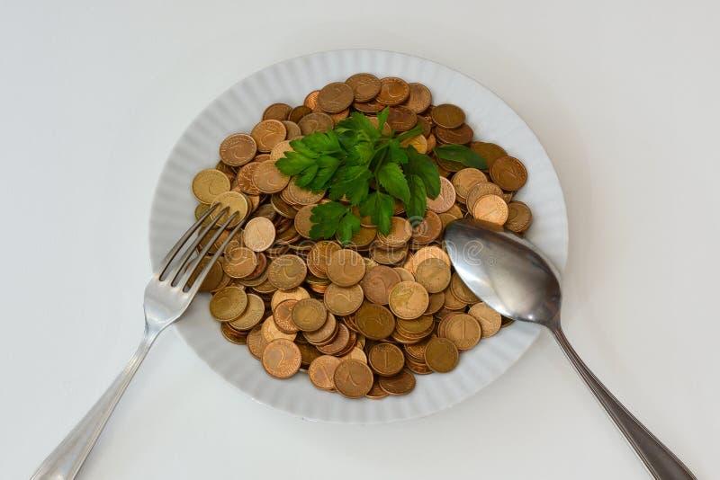 Dinero como comida cruda fotografía de archivo