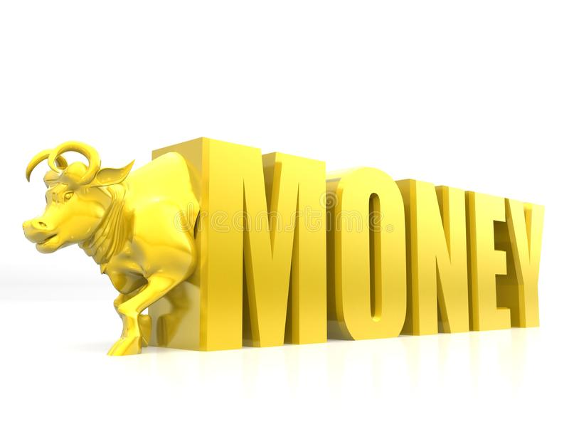 Dinero con el toro, color de oro, representación del concepto 3D del éxito empresarial aislada en el fondo blanco stock de ilustración