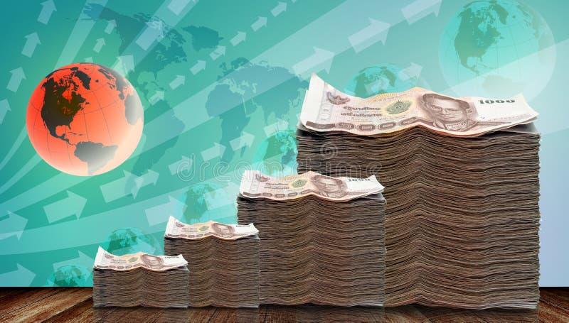 Dinero crecido para arriba en la inversión stock de ilustración