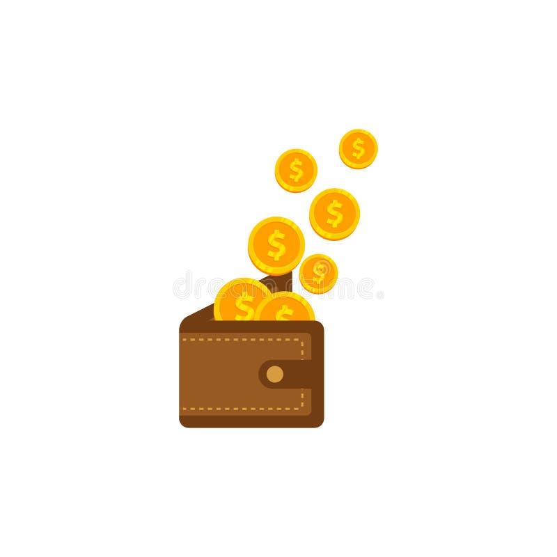 Dinero de ahorro adentro al ejemplo del icono del vector de la cartera gane el diseño del símbolo del icono del dinero stock de ilustración