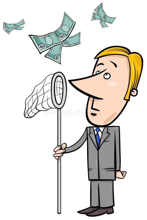 Dinero de cogida del hombre de negocios con la red stock de ilustración