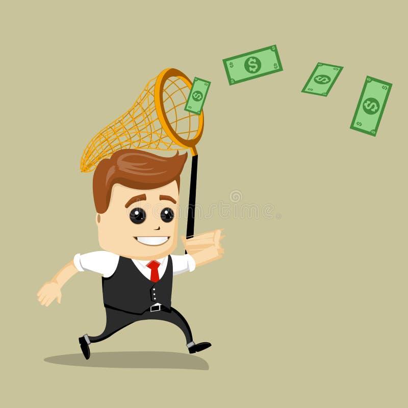 Dinero de cogida del hombre de negocios con una red de la mariposa Ilustración del vector Dólares y finanzas ilustración del vector