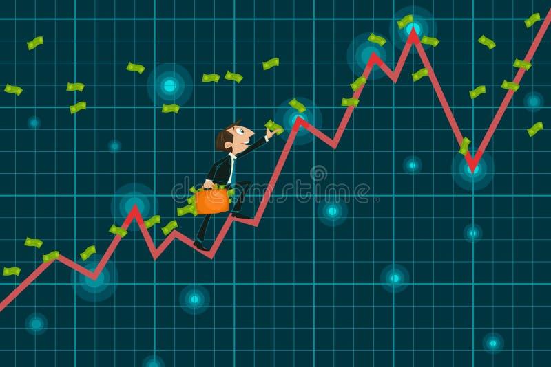 Dinero de cogida del hombre de negocios que sube el gráfico ascendente ilustración del vector