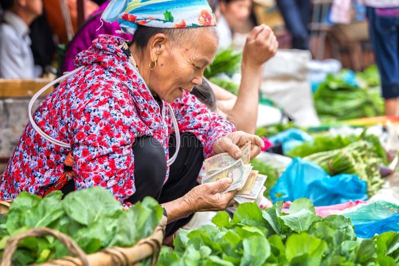 Dinero de cuenta étnico que vende verduras en el mercado fotos de archivo