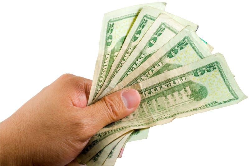 Dinero de Holdnig de la mano foto de archivo