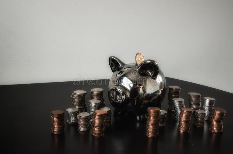 Dinero de hucha de plata fotografía de archivo libre de regalías