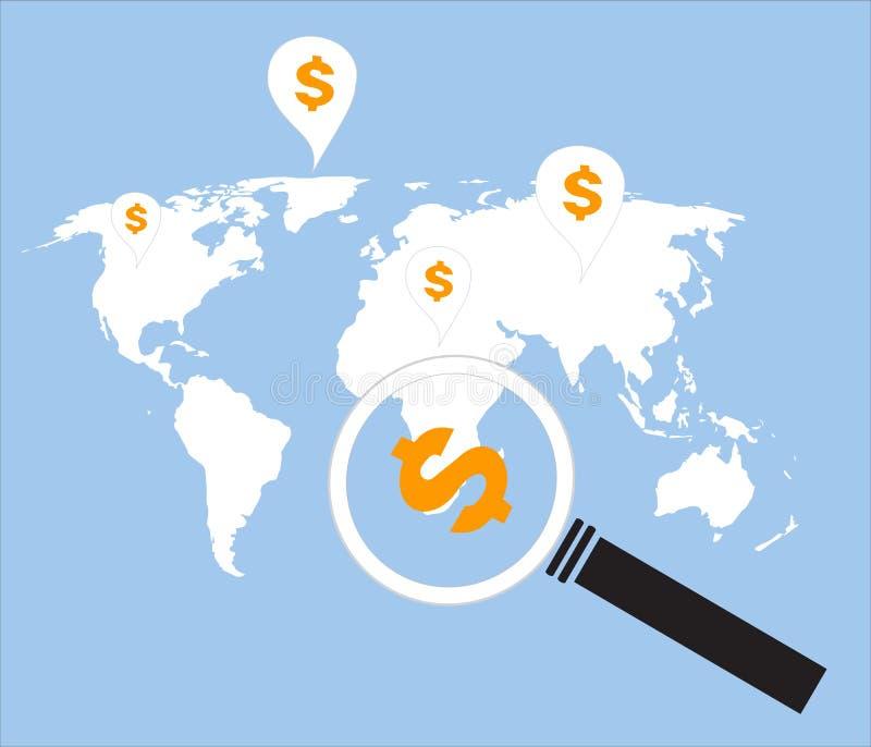 Dinero de la búsqueda en todo el mundo stock de ilustración