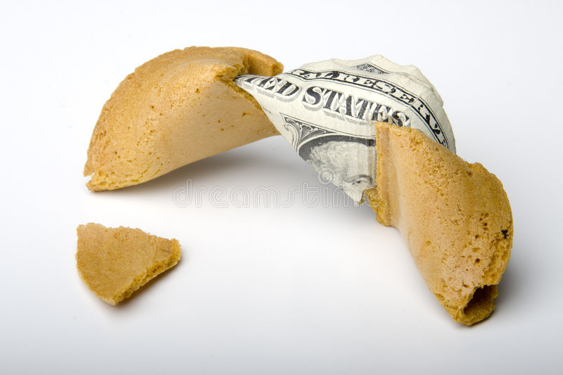 Dinero de la galleta de fortuna fotografía de archivo libre de regalías
